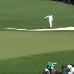 Phil Mickelson lines up an eagle putt on the second hole Thursday at the Masters.