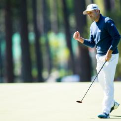 Sergio Garcia after making a putt during the second round of the Masters on Friday.