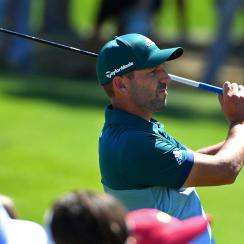 Sergio Garcia hits a shot with his TaylorMade M2 driver during the final round of the Masters.