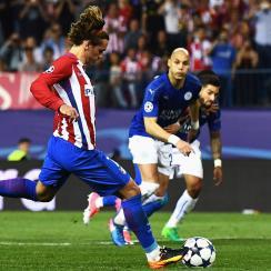 Antoine Griezmann scores for Atletico Madrid vs. Leicester City in Champions League