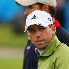 Sergio Garcia and Padraig Harrington on the final playoff hole during the 2007 Open Championship at Carnoustie. Harrington would beat Sergio for the title.