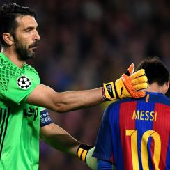 Gigi Buffon consoles Lionel Messi with Juventus leading Barcelona in the Champions League