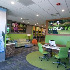 The new-look lobby at a GOLFTEC location.