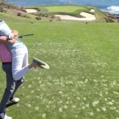 ESPN's Peter Burns and his wife celebrate their baby gender reveal at Pebble Beach.