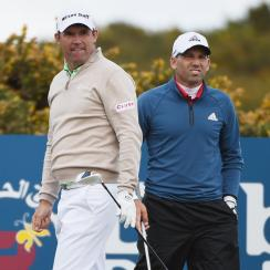 Padraig Harrington and Sergio Garcia at the 2015 Irish Open.