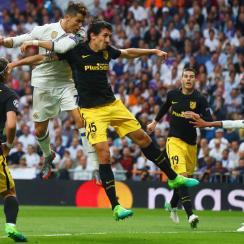 Cristiano Ronaldo scores for Real Madrid vs. Atletico Madrid in the Champions League