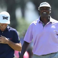 At 54 years old, Vijay Singh is beating players nearly half his age through 36 holes of the Players Championship.