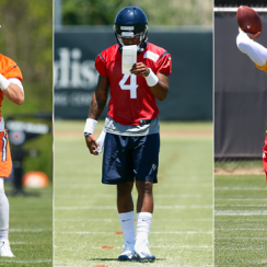 From l. to r., the Bears' Mitchell Trubisky, the Texans' Deshaun Watson and the Chiefs' Patrick Mahomes at rookie minicamps.