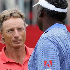 Bernhard Langer and Vijay Singh will battle it out at Trump National Golf Club on Sunday.