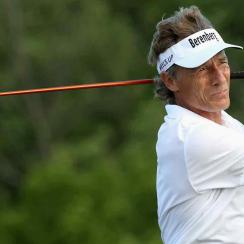 Bernhard Langer watches his drive on the 16th hole during Round 2 of the Senior PGA Championship at Trump National Golf Club.