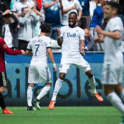 Kendall Waston scores for the Vancouver Whitecaps against Atlanta United