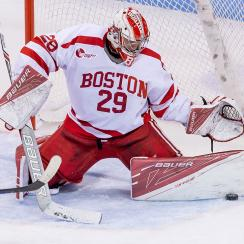 Jake Oettinger #29 of the Boston University Terriers makes a save against the Yale Bulldogs during NCAA hockey at Agganis Arena on December 13, 2016 in Boston, Massachusetts.