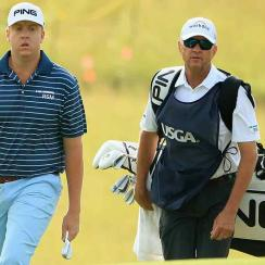 Dru Love and father (and caddie) Davis Love III walk to the 2nd green during the first round of the 2017 U.S. Open at Erin Hills.