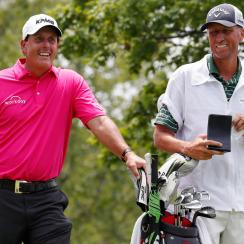 Phil Mickelson waits with Jim Mackay during the 2017 Memorial Tournament
