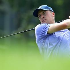 Jordan Spieth shot a second-round 69 to lead the Travelers Championship by one shot after 36 holes.