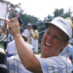 Jane Geddes with the U.S. Women's Open trophy after the conclusion of the final round of the 1986 U.S. Women's Open.