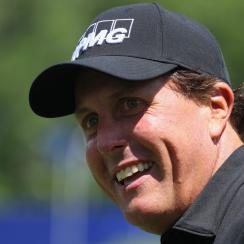 Phil Mickelson waits to play a shot during a skills challenge prior to the start of the 2017 KPMG Women's PGA Championship.