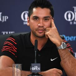 Jason Day talks during a press conference prior to the 146th Open Championship at Royal Birkdale.