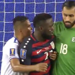Jozy Altidore has his nipple twisted during the USA's win over El Salvador in the Gold Cup