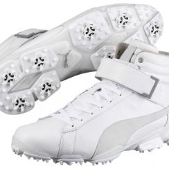 The new all-white Puma Titantour Ignite Hi-Top shoes.