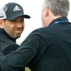 Sergio Garcia receives physio treatment after injuring his shoulder during Round 2 of the Open Championship.