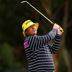 Jarrod Lyle plays a shot from the fairway during the Pro-Am ahead of the 2015 Australian Masters at Huntingdale Golf Course.