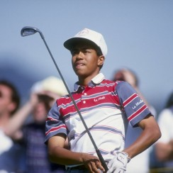16-year-old Tiger Woods at his PGA Tour debut at the 1992 L.A. Open.