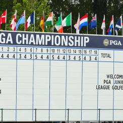 A leaderboard is seen during a practice round prior to the 2017 PGA Championship at Quail Hollow Club.