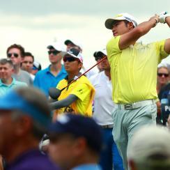 Hideki Matsuyama  plays his shot from the third tee during the third round of the 2017 PGA Championship.