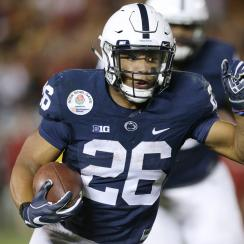 Once Barkley gets going, it's hard to bring him down—ask any defender who has tried to stop the momentum of his tree-trunk legs, or the four teams that each gave up more than 200 all-purpose yards to him in 2016. Even if his Heisman campaign falls short, he should be the first back off the board in next spring's draft.