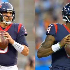 Houston Texans quarterbacks Tom Savage (l.) and Deshaun Watson.