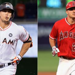 Giancarlo Stanton, Miami Marlins; Mike Trout, Los Angeles Angels
