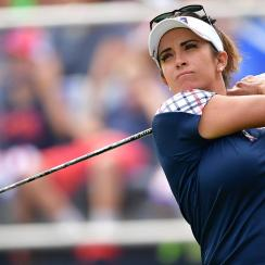 Gerina Piller plays a shot during the final day of the Solheim Cup on Sunday in West Des Moines.