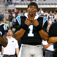 The Panthers aren't concerned whether Cam Newton stands for the anthem as much as they are with how his surgically repaired shoulder stands up to the rigors of a regular season game.