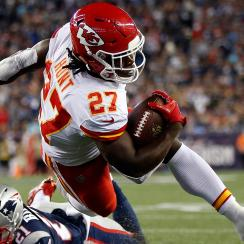 Kareem Hunt's first game as a pro: 17 carries, 148 yards; five catches, 98 yards; three total touchdowns.