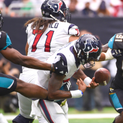 Jaguars defensive end Dante Fowler sacks and strips Texans QB Deshaun Watson.