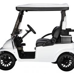 Lacern's white lithium-powered golf car is fully customizable.