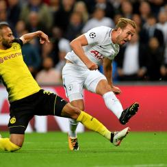 Harry Kane scores on Dortmund for Tottenham in the Champions League