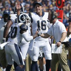 It was all smiles on the Rams sideline during the team's Week 1 rout of the Colts.