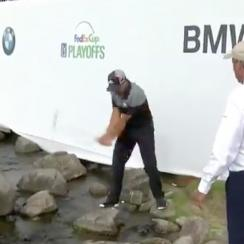 Just another par: Sergio Garcia had an adventure on the 18th hole on Sunday at the BMW.