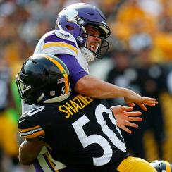 Steelers LB Ryan Shazier puts a hit on Vikings QB Case Keenum in Week 2.