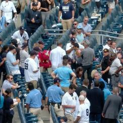 A foul ball appeared to strike a young fan in the head at the Yankees-Twins game on Wednesday.