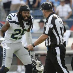 A fight broke out after Richard Sherman was flagged for attempting to hit Richard Sherman out of bounds.