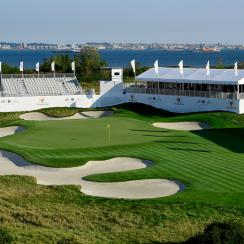 The 16th hole of Liberty National Golf Club.