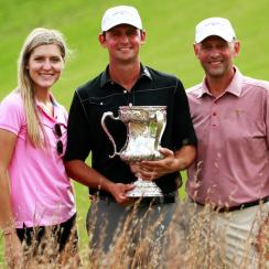 Matt Parziale poses with his father and fiance after winning the U.S. Mid-Am on Friday