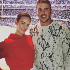 Brooks Koepka and girlfriend Jena Sims at Yankee Stadium.