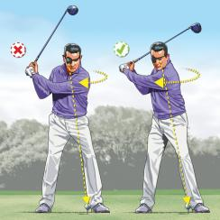 To add more turn to your backswing (and more power to your swing), train yourself to focus on the ball with your nondominant eye.