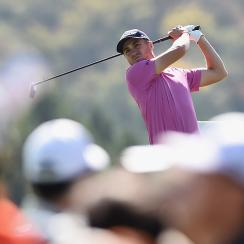 Justin Thomas tees off during the final round of the CJ Cup at Nine Bridges on Sunday in South Korea. Thomas won in a playoff.