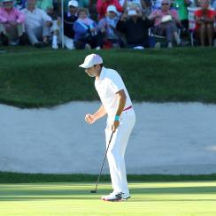 Sergio Garcia pumps his fist after making a birdie on the 17th hole of the Andalucia Valderrama Masters on Sunday.