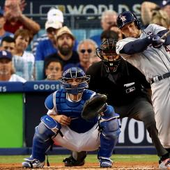 George Springer #4 of the Houston Astros bats during the third inning against the Los Angeles Dodgers in game two of the 2017 World Series at Dodger Stadium on October 25, 2017 in Los Angeles, California. (Photo by Ezra Shaw/Getty Images)